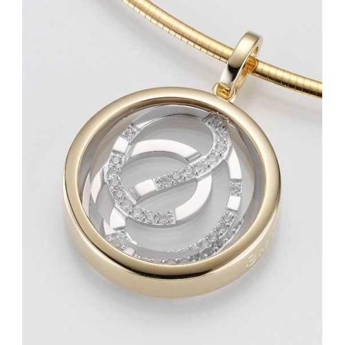 Anhaenger - GOLD 585 - GELB/WEISS - E.BKRISTALL/Brill. 0,254 Ct - 7,76 g