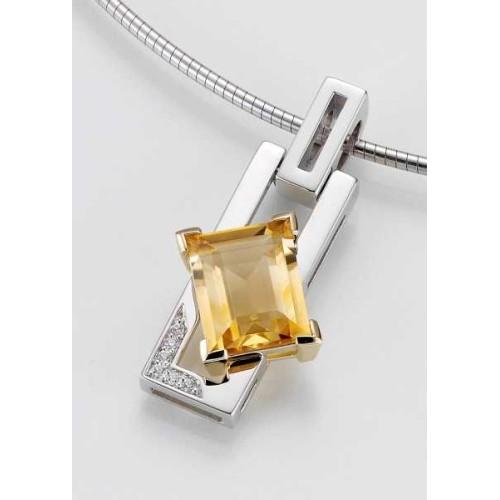 Anhaenger - GOLD 585 - GELB/WEISS - E.CITRIN/Brill. 0,033 Ct. w/si - 4,07 g