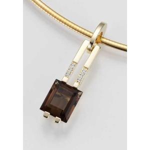 Anhaenger - GOLD 585 - Gelb - E.RAUCHQUARZ/Brill. 0,045 Ct. w/si - 3,04 g