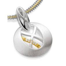 Anhaenger-Silber 925 - Gold - 585 - BRILL. 0,028 Ct - 2.71 g
