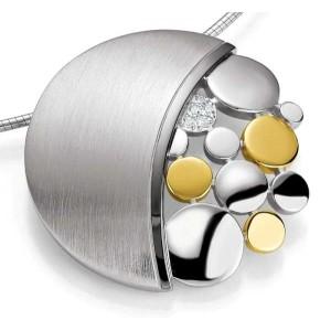 Anhaenger-Silber 925 - Gold - 585 - BRILL. 0,09 Ct - 12.22 g