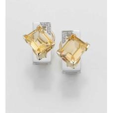 Ohrschmuck - GOLD 585 - GELB/WEISS - E.CITRIN/Brill. 0,06 Ct. w/si - 7,95 g