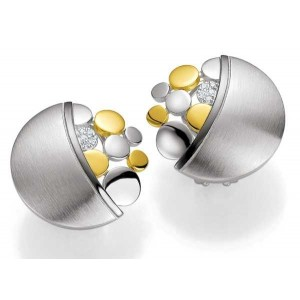 Ohrschmuck - Silber 925 - GOLD 585 -  BRILL. 0,061 Ct. - 8.47 g
