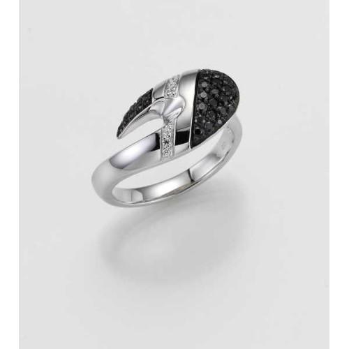 Ring- Gold-585/- Weiß - BRILLANT SCHWARZ/Brill. 0,385 Ct. - 6,44 g