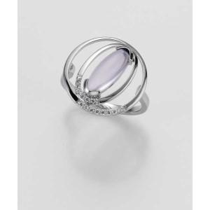 Ring- Gold-585/- Weiß - LAVENDEL AMETHYST/Brill. 0,091 Ct. w/si - 3,85 g