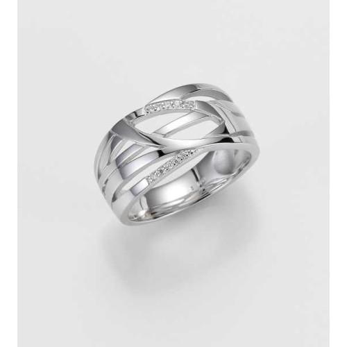 Ring- Gold-585/- Weiß - BRILL. 0,061 Ct. w/si - 7,1 g