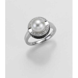 Ring- Gold-585/- Weiß - SÜDSEE-PERLE-ZP/Brill. 0,429 Ct. schwarz - 7,2 g