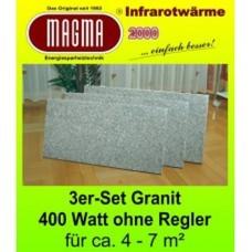 Magma IR Natursteinstandheizung 3X400W 04.GW.610S  Granit-Grau-Weiss 3er-Set
