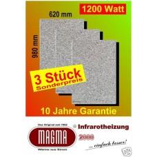 Magma IR Natursteinwandheizung 3X1200W12.GW.980 Granit-Grau-Weiss 3er-Set
