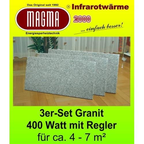 Magma IR Natursteinstandheizung 3X400W 04.GW.610RS Granit-Grau-Weiss-3er-Set