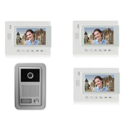 """1 Familien Video Türsprechanlage Gegensprechanlage Klingel mit 3 Monitore 7"""" (Weiß) Video- Bildaufnahme Kamera  (Aufputz)"""