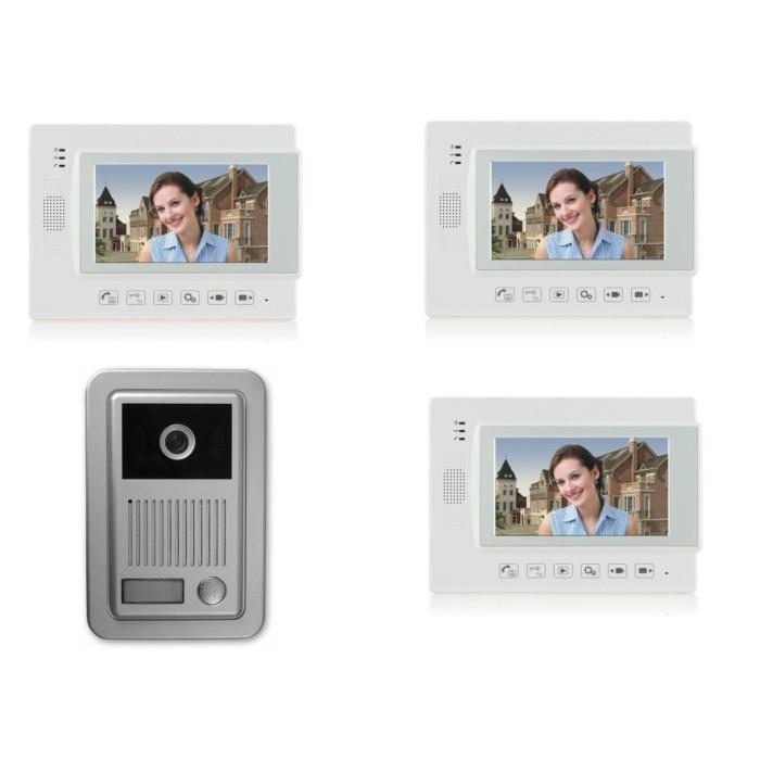 1 familien video t rsprechanlage gegensprechanlage klingel mit 3 monitore 7 wei video. Black Bedroom Furniture Sets. Home Design Ideas