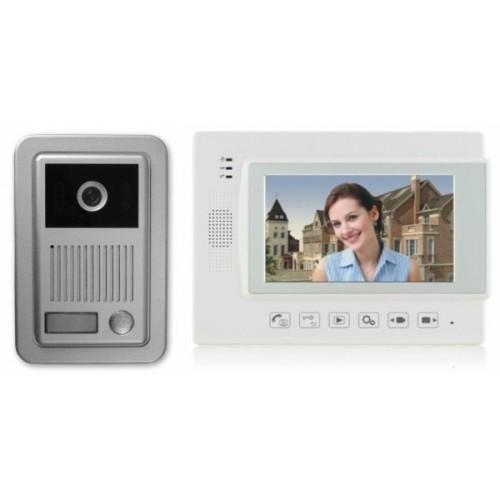 """1 Familien Video Türsprechanlage Gegensprechanlage Klingel mit 1 Monitor 7"""" (Weiß) Video- Bildaufnahme Kamera  (Aufputz)"""