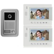 """1 Familien Video Türsprechanlage Gegensprechanlage Klingel mit 2 Monitore 7"""" (Weiß) Video- Bildaufnahme Kamera  (Aufputz)"""
