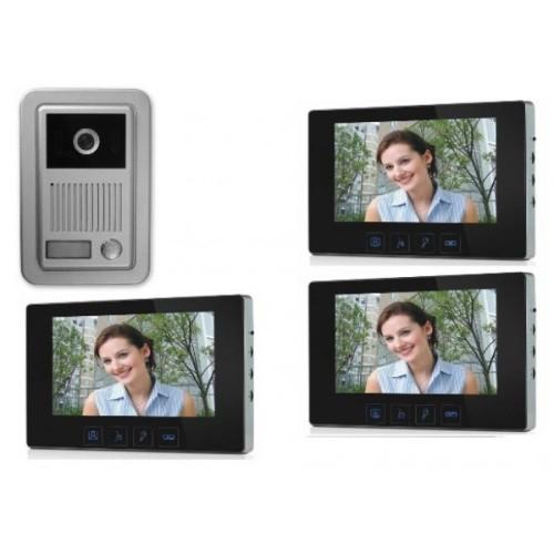"""1 Familien Video Türsprechanlage Gegensprechanlage Klingel mit 3 Monitore 7"""" Kamera Klingel (Aufputz)"""