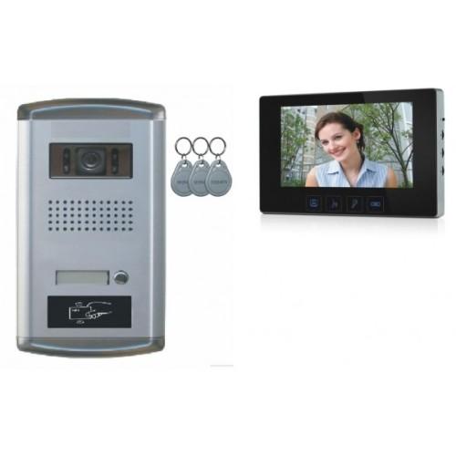 """1 Familien Video Türsprechanlage Gegensprechanlage Klingel mit 1 Monitor 7"""" Kamera Klingel (Aufputz)"""