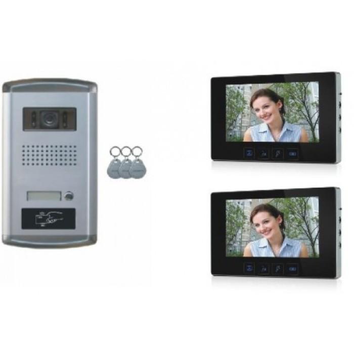 1 familien video t rsprechanlage gegensprechanlage klingel mit 2 monitore 7 kamera klingel. Black Bedroom Furniture Sets. Home Design Ideas