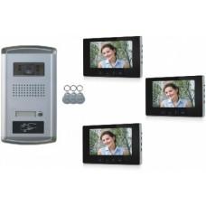 """1 Familien Video Türsprechanlage Gegensprechanlage Klingel mit 3 Monitore 7"""" Kamera Klingel (Unterputz)"""