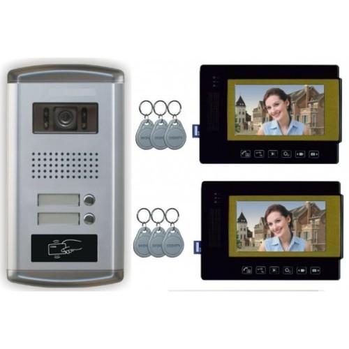 """2 Familien Video Türsprechanlage Gegensprechanlage mit 2 Monitore 7"""" (Schwarz) Video- Bildaufnahme Kamera Klingel (Unterputz)"""