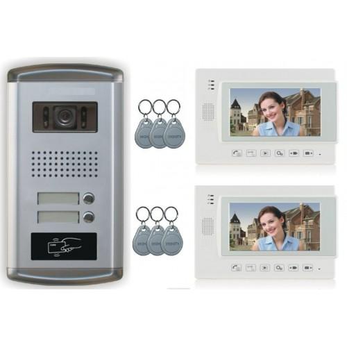 """2 Familien Video Türsprechanlage Gegensprechanlage mit 2 Monitore 7"""" (Weiß) Video- Bildaufnahme Kamera Klingel (Unterputz)"""