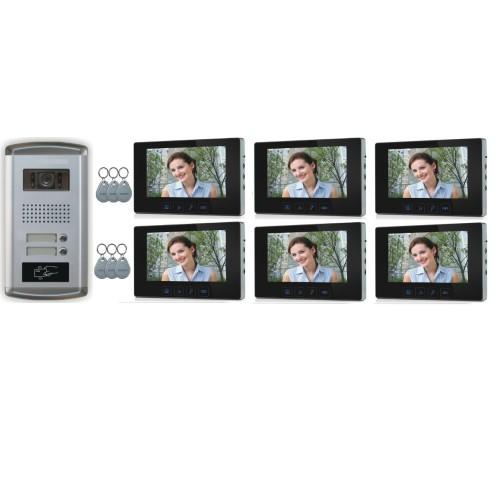 """2 Familien Video Türsprechanlage Gegensprechanlage mit 3+3 Monitore 7""""  Kamera Klingel (Unterputz)"""