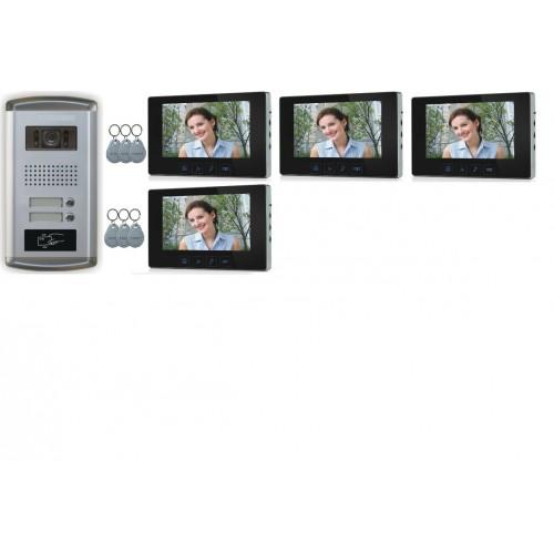 """2 Familien Video Türsprechanlage Gegensprechanlage mit 3+1 Monitore 7""""  Kamera Klingel (Unterputz)"""